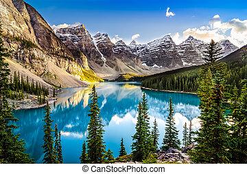 lac montagne, gamme, morain, coucher soleil, paysage, vue
