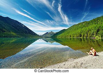 lac, montagne