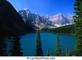 lac morraine, parc, national, banff