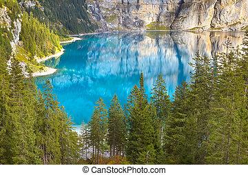 lac, panorama, switzerland., alpes, oeschinensee