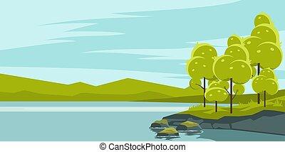 lac, paysage, été