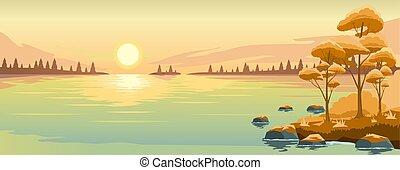 lac, paysage automne