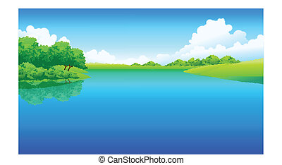 lac, paysage, vert