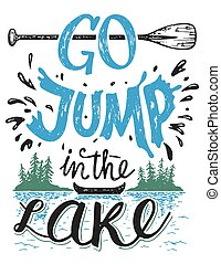 lac, saut, signe, maison, aller, décor