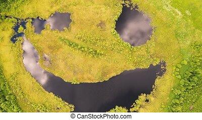 lac, -, sourire, aérien, phénomène, naturel, fontaine, vue., figure