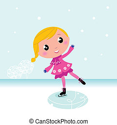 lac, surgelé, mignon, winter:, enfant, patinage glace