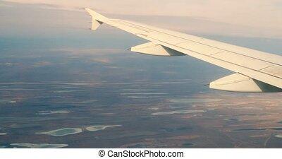 lacs, siège, fenêtre, la terre, aile avion, vue