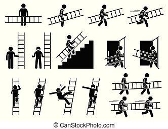 ladder., homme