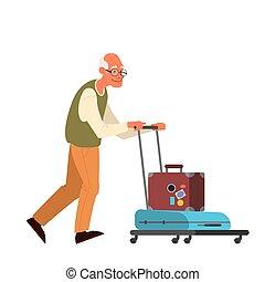 laggage, illustration homme, vecteur, touriste, handbag., personnes agées