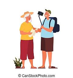 laggage., vieil homme, illustration, touriste, vecteur, femme âgée