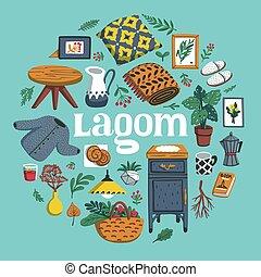 lagom, furniture., concept, plat, lifestyle., aimer, confortable, rond, coloré, illustration, choses, usines, oreiller, illustration., composition., maison, vecteur, scandinave, lettrage