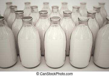 lait, bottles.