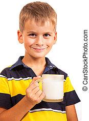 lait, garçon, boire, ?ute, blanc