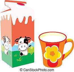 lait, isolé, boîte, carton, grande tasse