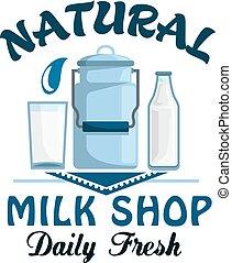 lait, naturel, ferme, boisson, laitage, frais, écusson