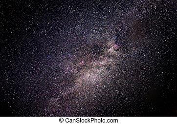 laiteux, nuit, galaxie, manière, sky.