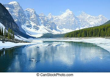 lake., banff, national, park., moraine