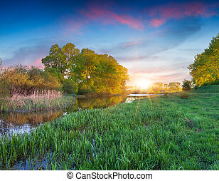 lake., paysage, été, beau