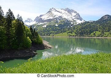 lake., suisse, montagne