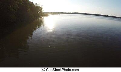 lake., voler, coucher soleil, temps