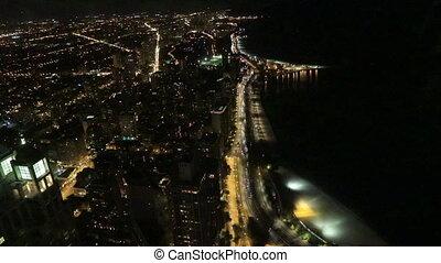 lakeshore, chicago, aérien, nuit, secteur