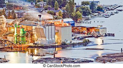 lakeshore, industriel, scène