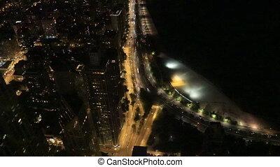 lakeshore, nuit, aérien, chicago