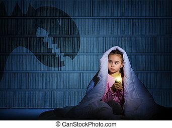 lampe électrique, girl, couvertures, sous