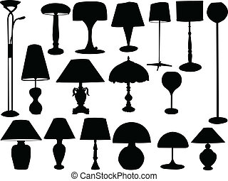 lampes, grand, vecteur, -, collection
