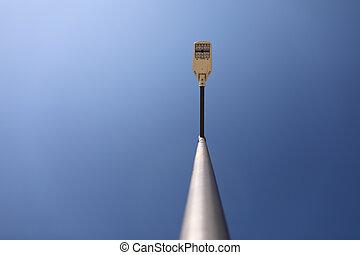 lamppost., arrière-plan., réverbère, spece, bleu, moderne, ciel, copie