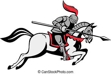 lance, équitation, chevalier, cheval