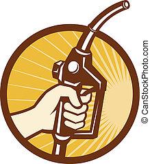 lance, essence, main, pompe, tenue, carburant