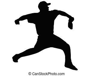 lancement, boule base-ball, cruche