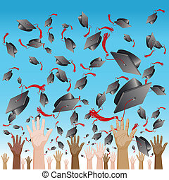 lancement, casquette, diversité, jour, remise de diplomes