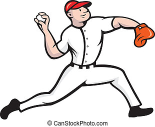 lancement, cruche base-ball, joueur