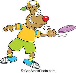 lancement, frisbee, dessin animé, ours
