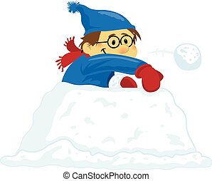 lancement, garçon, boules neige