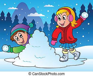 lancement, gosses, deux, balles, neige