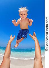 lancement, père, haut, air, enfant, heureux