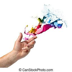 lancement, peinture, concept, créativité, main