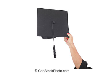 lancement, remise de diplomes, chapeaux, main, air
