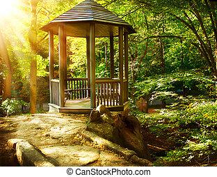 landscaping, automnal, park., tonnelle