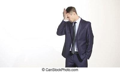 language., business, maillot, erreurs, isolé, homme, reconnaissance, arrière-plan., forehead., coton, blanc
