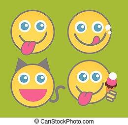 langue, smiley, ensemble, dehors