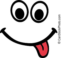 langue, smiley, rouges