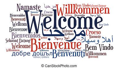 langues, locution, différent, accueil