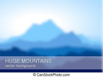 lanscape, montagnes, bleu, élevé, brouillé