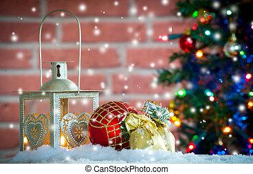 lanterne, fond, neige, brûlé, noël