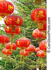 lanterne, temple, chinois, rouges