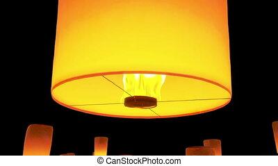 lanternes, nuit, voler, beau